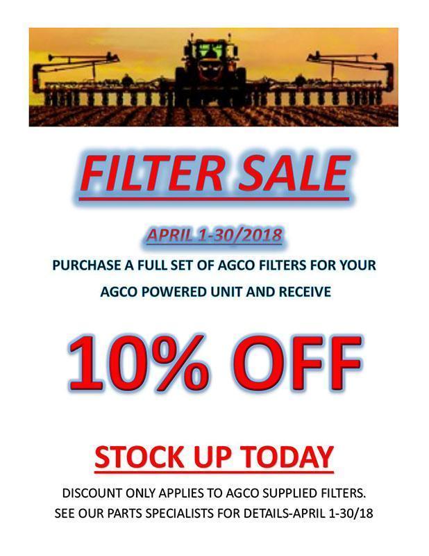 Agriterra filter sale - April 2018